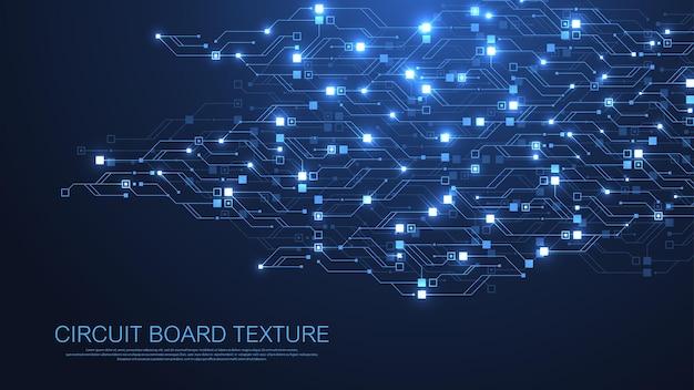 Technologie abstrakter leiterplattenbeschaffenheitshintergrund. high-tech-futuristische leiterplatten-banner-tapete. digitale daten. engineering elektronisches motherboard. minimales array big data-vektorillustration