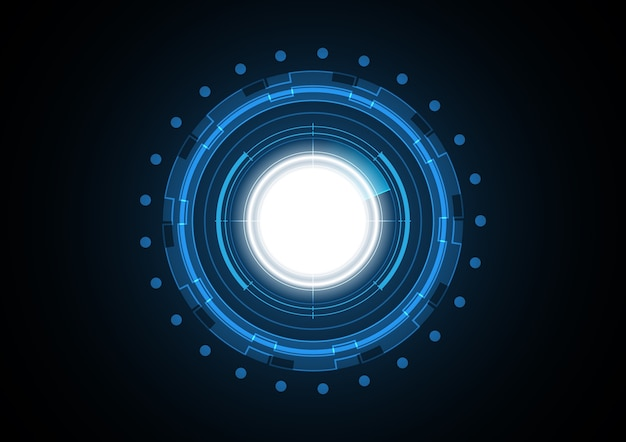 Technologie abstrakter zukünftiger lichtkreisradarhintergrund