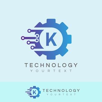 Technologie anfängliche buchstabe k logo design
