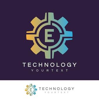 Technologie anfangsbuchstabe e logo design