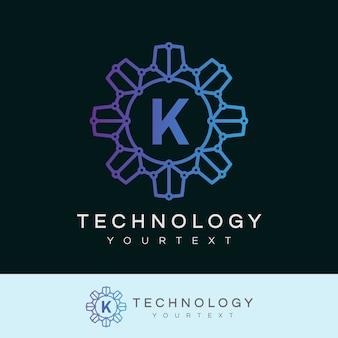 Technologie anfangsbuchstabe k logo design