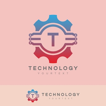 Technologie anfangsbuchstabe t logo design