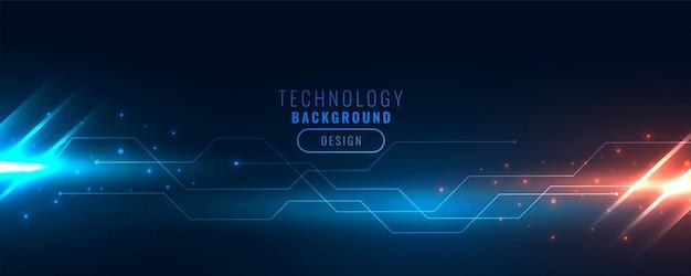 Technologie-backend-banner mit leiterbahnen und lichtstreifen