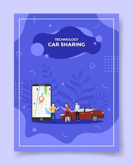 Technologie-carsharing-personen um smartphone-kartenpunktposition im ausstellungsauto