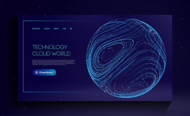 Technologie cloud world globe netzwerk fintech-konzept blockchain-übertragungssatellit-zukunft