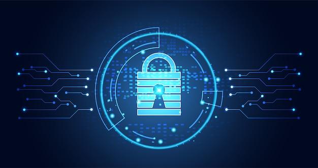 Technologie cyber security datenschutz information network konzept vorhängeschloss