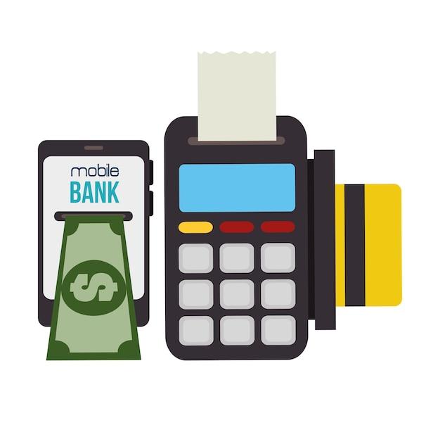 Technologie-dataphone und smartphone-bank