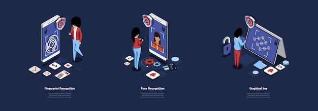 Technologie der menschlichen erkennung fingerabdruck, gesicht und grafischer schlüssel. illustration im cartoon-3d-stil
