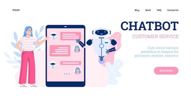 Technologie des technischen supports und service mit chatbot ein vektordesign für das web