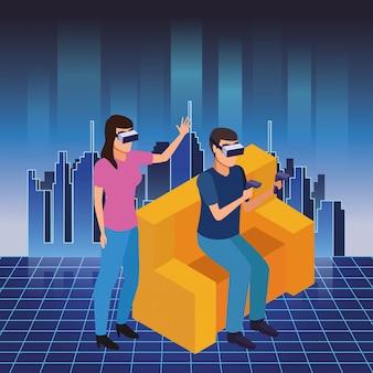 Technologie-erfahrungskarikatur der virtuellen realität
