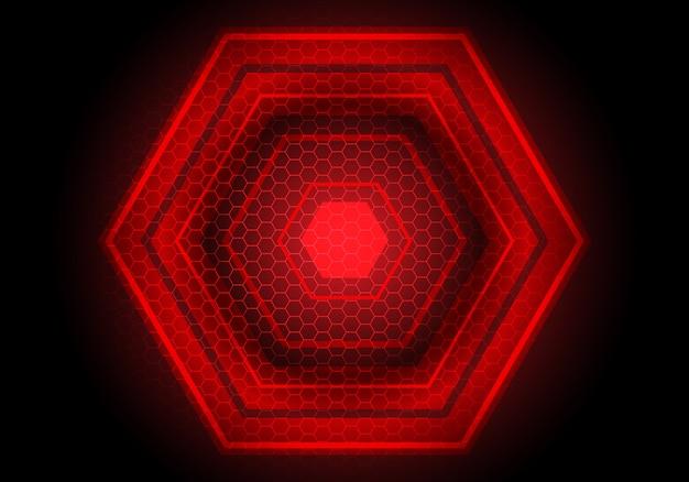 Technologie-hintergrund des roten lichtes hexagon-energieschwarzes.