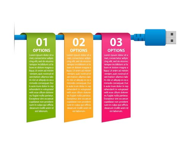 Technologie-infografiken vorlage usb-kabel infografiken für geschäftspräsentationen