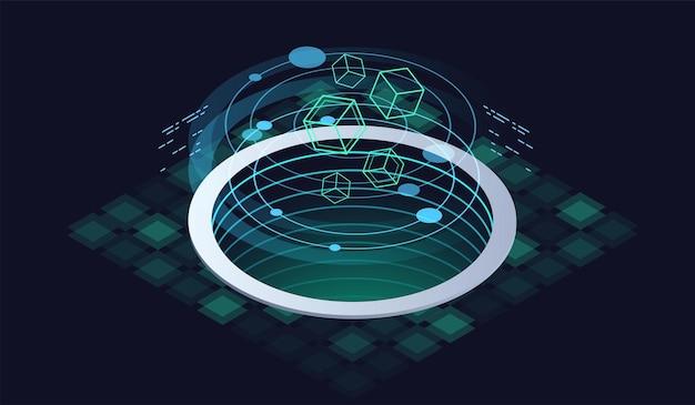 Technologie isometrisches infografik-design für quantencomputer