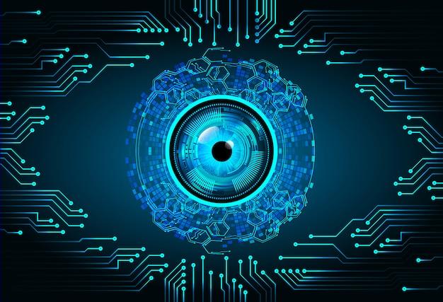Technologie-konzepthintergrund der binären cyber-schaltung des blauen auges zukünftiger