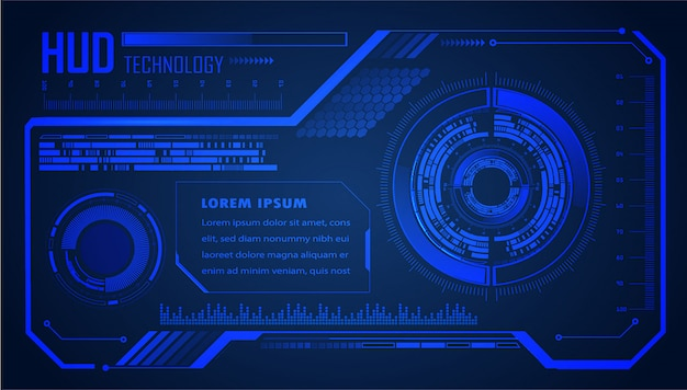 Technologie-konzepthintergrund der blauen hud-cyber-schaltung zukünftiger