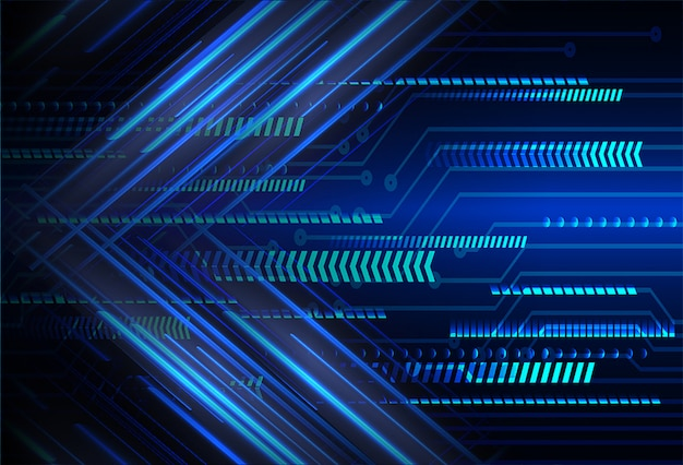 Technologie-konzepthintergrund der blauen pfeilcyberstromkreiszukunft