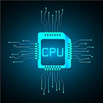 Technologie-konzepthintergrund der cpu-cyberschaltung zukünftiger
