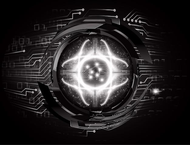 Technologie-konzepthintergrund der cyber-schaltung des blauen auges zukünftiger