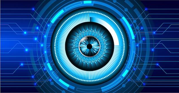 Technologie-konzepthintergrund des blauen auges cyber-stromkreis zukünftiger