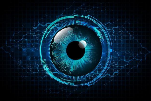Technologie-konzepthintergrund des blauen auges cyber-stromkreises zukünftiger