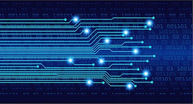 Technologie-konzepthintergrund des blauen cyberkreislaufs zukünftiger