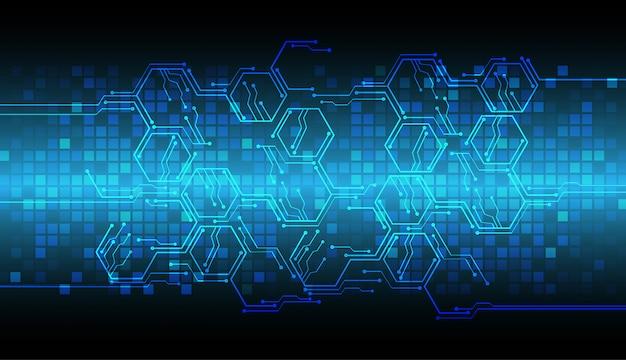 Technologie-konzepthintergrund des blauen cyberstromkreises zukünftiger