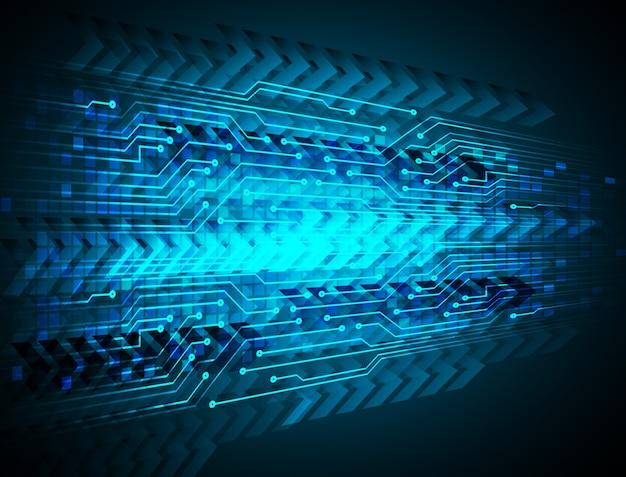 Technologie-konzepthintergrund des blauen pfeilcyberstromkreises zukünftiger
