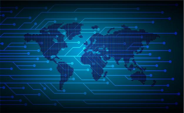 Technologie-konzepthintergrund des blauen weltcyber-stromkreises zukünftiger