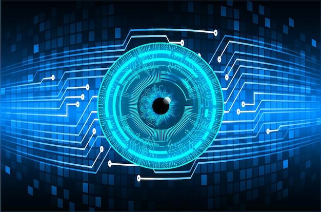 Technologie-konzepthintergrund des cybercyclus des blauen auges zukünftiger