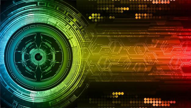 Technologie-konzepthintergrund des cyberstromkreises des blauen rotes gelber zukünftiger