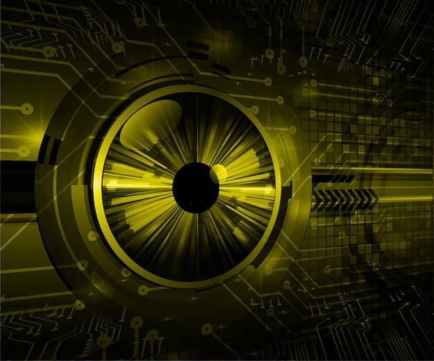 Technologie-konzepthintergrund des gelben auges cyber-stromkreises zukünftiger