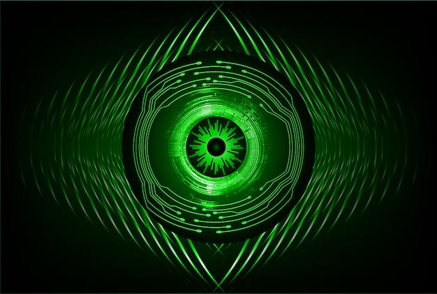 Technologie-konzepthintergrund des grünen augen cyber-stromkreises zukünftiger