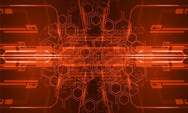Technologie-konzepthintergrund des orange cyberstromkreises zukünftiger