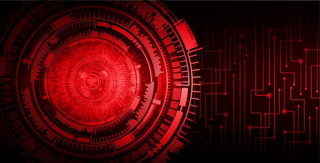 Technologie-konzepthintergrund des roten augen cyber-stromkreises zukünftiger