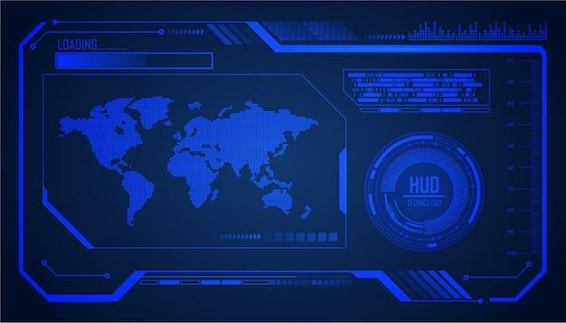 Technologie-konzepthintergrund des welt-hud-cyberstromkreises zukünftiger