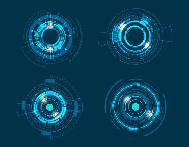 Technologie-kreisdesign der vektorikone gesetztes.