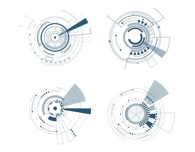 Technologie-kreisdesign der vektorikone gesetztes