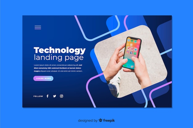 Technologie-landingpage mit smartphone-foto