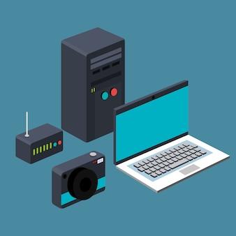 Technologie laptop cpu router kamera gerät