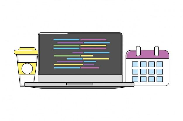 Technologie-laptop-karikatur