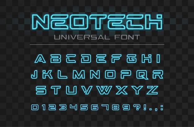Technologie leuchtende schriftart. schneller sport, futuristisches, zukünftiges tech-alphabet. neonbuchstaben und -nummern für high-speed-design mit techno-industrie und high-tech-logo