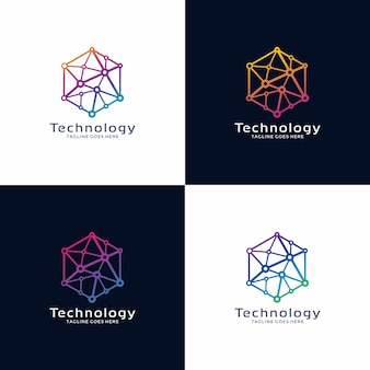 Technologie-logo-design mit option farbe