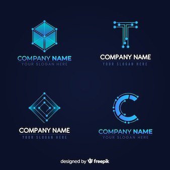 Technologie logo sammlung farbverlauf stil