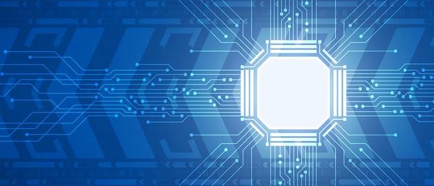 Technologie-mikrochip, blaue leiterplatte, digitaler pfeilbewegungshintergrund