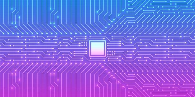 Technologie-mikrochip-hintergrund, digitales platinenmuster mit blauem und violettem farbverlauf