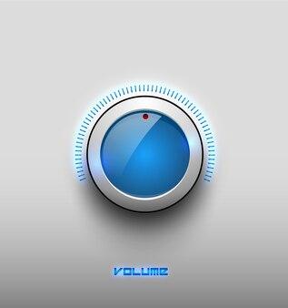 Technologie-musik-blaues glühen glänzendes knopfsymbol, lautstärkeeinstellungen, tonsteuerungsvektorknopf mit weißem plastikring, skala. auf hintergrund isoliert. für internetseiten, webinterface, anwendungen.