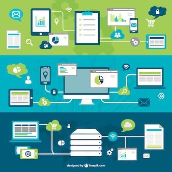 Technologie-networking-vektor Kostenlosen Vektoren