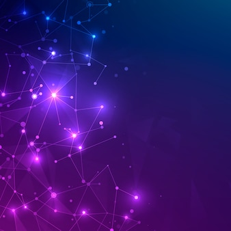 Technologie-netz mit polygonalen formen auf dunkelblauem und lila hintergrund. digitales technologiekonzept. chaotische netzplexusstruktur. abstrakte futuristische textur.