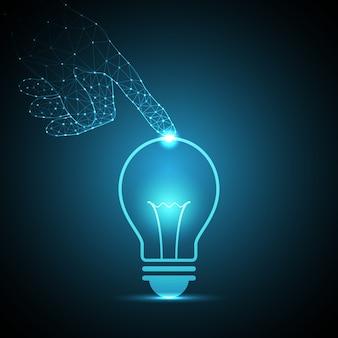 Technologie polygon hand glühbirne