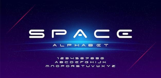 Technologie-raumschriftart und -alphabet